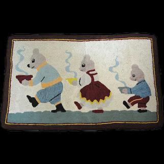 The Three Bears Canadiana Hooked Rug Vintage