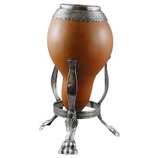 South American Silver Gourd Yerba Mate Cup on Stand