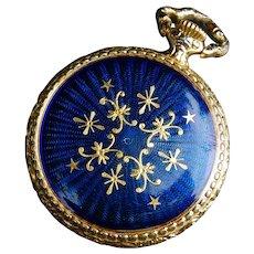 Caravelle Bulova Enamel Pocket Watch Ladies Gold Gilt Enamel