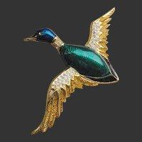 French Enamel Carven Signed Duck Brooch