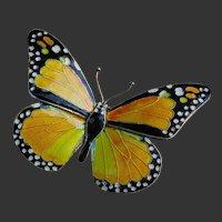Vintage Enamel Butterfly Brooch Pin Monarch