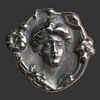 American Art Nouveau Sterling Gibson Girl Pin Brooch