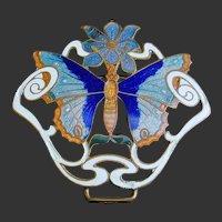 Enamel Butterfly Art Nouveau Buckle Pendant