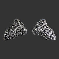 Sterling Silver Marcasite Pair of Clips Pin