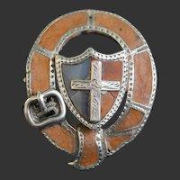 Scottish Silver Brooch Shield Garter 19th C.