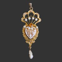 Gold Pearl Enamel Pendant Necklace Monogram WBC
