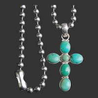 Turquoise Stone Sterling Silver 925 Cross Pendant w/ Chain