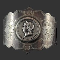 Cuff Bracelet from American Coin Silver Medallion Napkin Ring