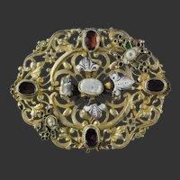 Austro Hungarian Garnet Enamel Pearl Brooch Silver Gilt