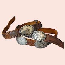 Southwest Silver Concho Ladies Leather Belt