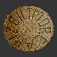 "Pima Basket Bowl ""Biltmore Ariz""  Native American Basketry"