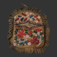 American Native Athabaskan Beaded Flat Bag