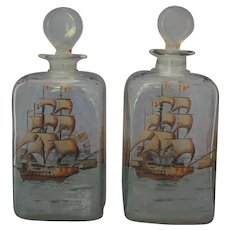 PAIR 18th C. Dutch Colonial Glass Decanters Painted Ships