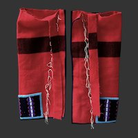 Northern Plains Beaded Chaps Leggings RED Trade Cloth