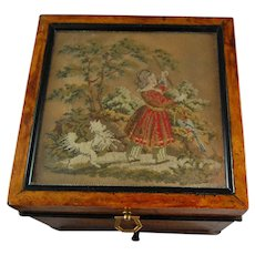 19th C. Needlework Jewellery Box Girl w/ Red Dress