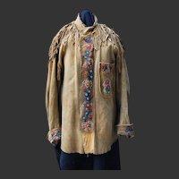 Athabascan Native Beaded Fringed Shirt  Jacket  C. 1900