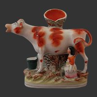 Staffordshire Pottery Cow Milkmaid Spill Vase 19th C. LARGE
