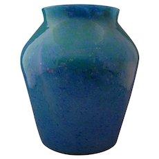 Scottish Art Glass Monart Large Blue Green Vase