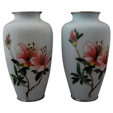 Japanese Cloisonne Silver Wire PAIR Vases Lilies Floral