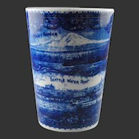 Views of Seattle 19th C. Beaker, Cup , The Rowland Marsellus Co.  Blue & White Pottery