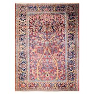"3'4"" x 4'10"" Persian Three of Life Manchester Kashan Rug, c-1920"