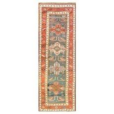 """Antique Akstafa/ Kazak Caucasian Runner, 3'6"""" x 11' #00671 c-1880's"""