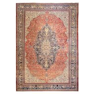 "9'10"" x 13'8"" Amazing Antique Persian Sarouk Feraghan Carpet, c-1880's"