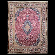 """8'11"""" x 11'4"""" Fine Persian Dabir Kashan, c-1920's"""