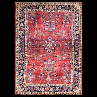 "3'4"" x 4'10"" Antique Feraghan Sarouk, Amazing Colors, c-1900"