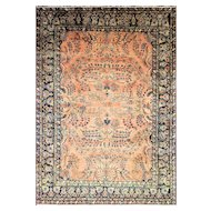 "8'6"" x 11'10"" Wonderful Antique Mohajeran Sarouk, c-1910's"