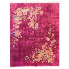 """Antique Art Deco Chinese Oriental Carpet, 8'6"""" x 11'8"""" #14270, c-1920"""