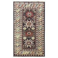 """3'3"""" x 5'8""""Stunning Antique Caucasian Lesghi Star Rug,Excellent Condition #15045, c-1880"""