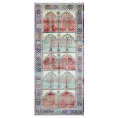 "5'5"" x 12'9"" Charming Oushak Gallery Carpet, c-1940"
