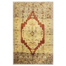 "Semi Antique Turkish Ushak  Oriental Rug, red yellow colors, 6'5"" x 9'11"" #15697"