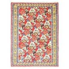 """Antique Kilim Senneh /Kazak  Rug, c-1930, 4' x 5'6"""" #15809"""