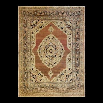 """Antique Persian Tabriz Hajji Rug, 4'1"""" x 5'4"""" c-1900"""