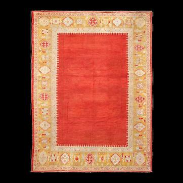 "Antique  Oushak Anatolian Turkish Oriental Rug, 10'2"" x 14'8""   #16094, c-1880"