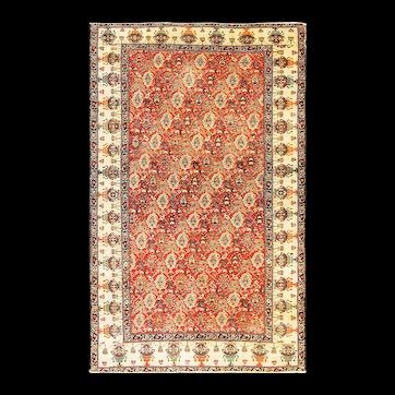 """Antique Persian Zel-I-Sultan Rug, 4' x 6'7"""" c-1900"""