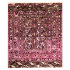 "Antique Tekkeh Turkoman Rug 2'10"" x 3'8"", c-1900 Fine Quality #16231"