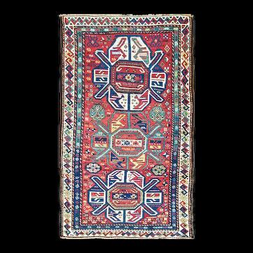 """Antique Lenkoran Rug, Caucasian, Kazak, 3'9"""" x 6'3"""" c-1890's #16283"""