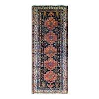 """4'7"""" x 11'3"""" Antique Persian Bakhtiari Gallery Carpet, c-1910"""