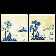 """17"""" x 17"""" An Unusual Pair of Antique Art deco Chinese Mat, c-1920"""