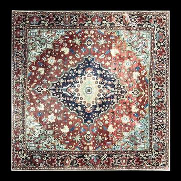"Antique Feraghan Sarouk Rug, circa 1880, 4'2"" x 4'3"" #16464"