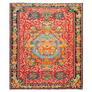 "5'1"" x 6'4"" Colorful Antique Karabagh Soumak Caucasian Rug, c-1890"