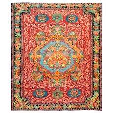 "5'1"" x 6'4"" Colorful Antique Karabagh Soumak Caucasian Rug, c-1890"