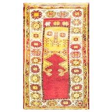 "Antique Anatolian Oushak Rug Oriental Rug 3'3"" x 4 '5"" , c-1900. #16565"