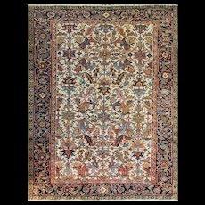 "7'8"" x 10'7"" Incredible Ivory Persian Heriz, c-1920's"