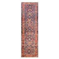 """3'3"""" x 11'5"""" Charming  Persian Heriz, c-1920"""