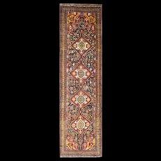 3' x 12' Unusual Antique Qashgai Runner, c-1880's