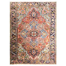 "9'7"" x 12'6"" Bold and Colorful Antique Persian Heriz Carpet, c-1910"